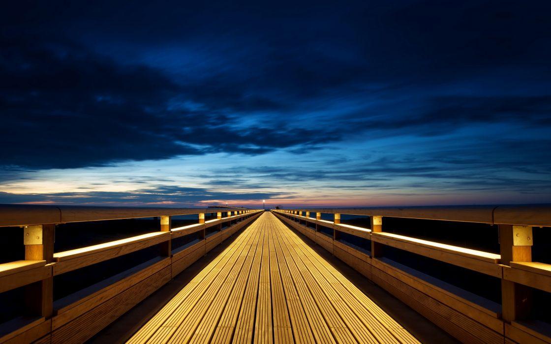 Clouds sea wood bridges deck skyscapes wallpaper