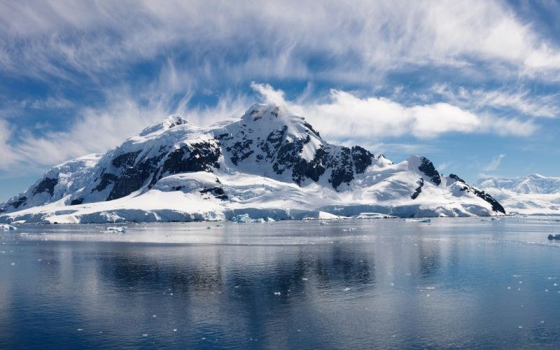 Water ice mountains clouds landscapes cold skyscapes wallpaper
