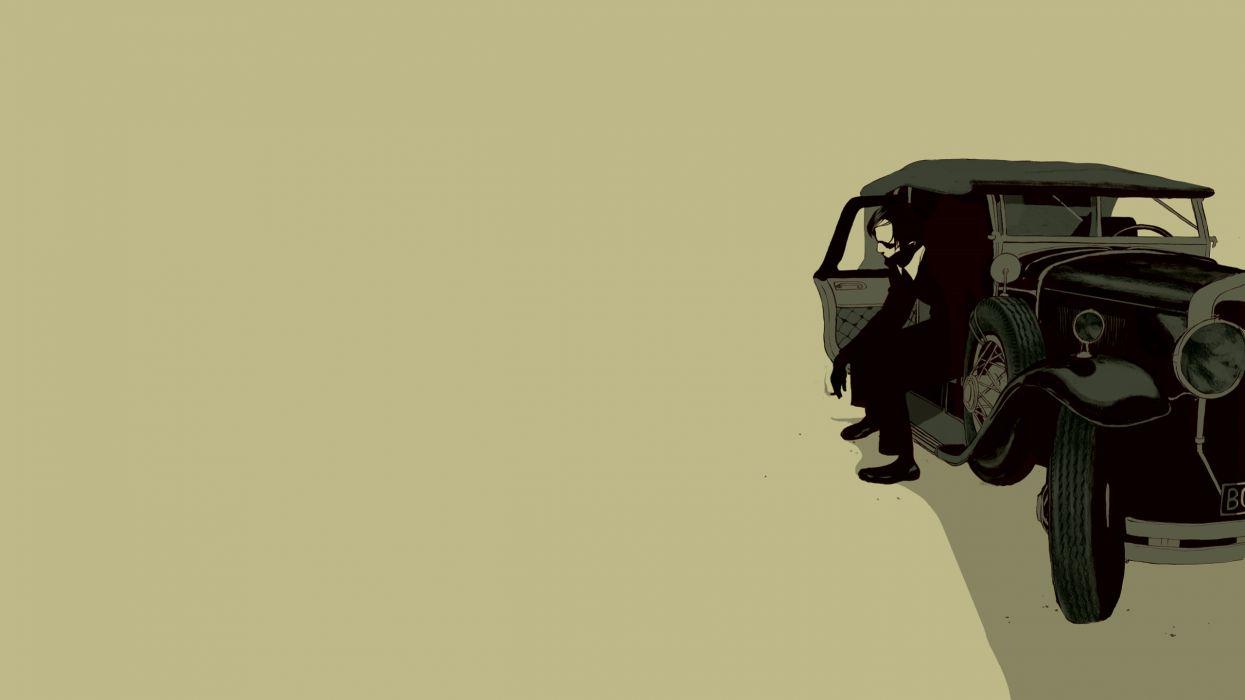 Smoking minimalistic cars men digital art artwork oldtimer wallpaper