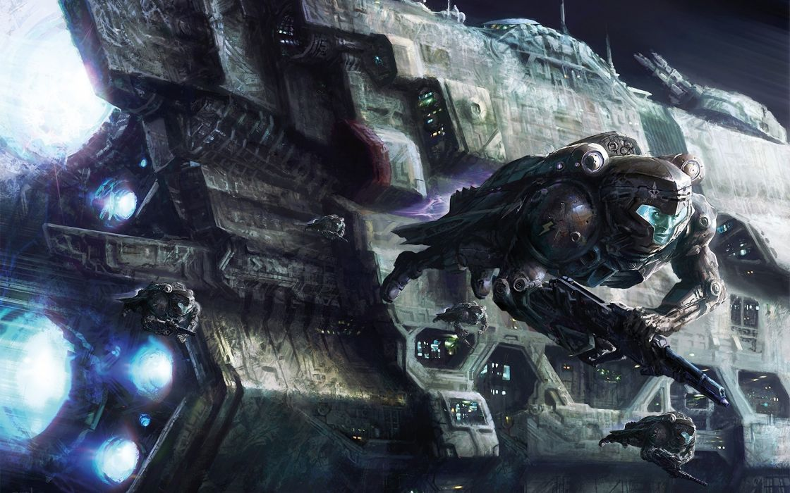 Outer space guns astronauts spaceships science fiction artwork vehicles wallpaper