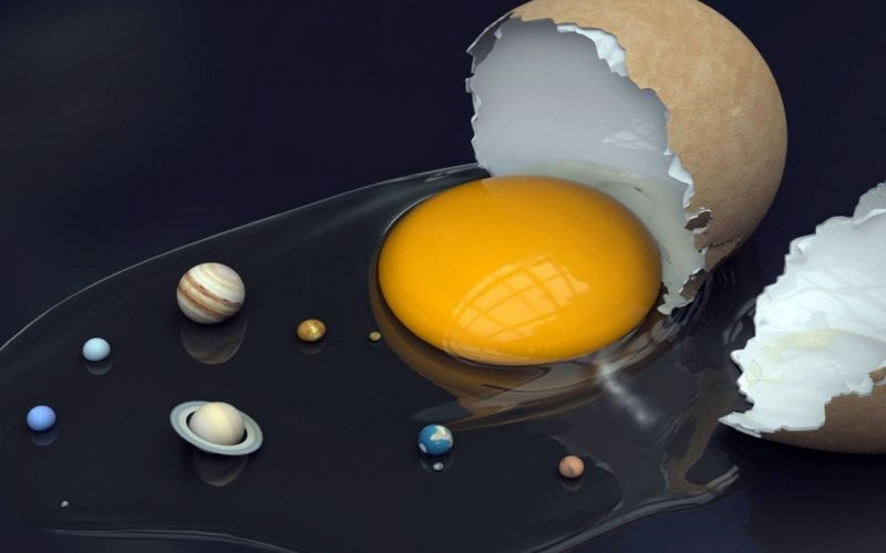 Abstract eggs solar system planets objects wallpaper