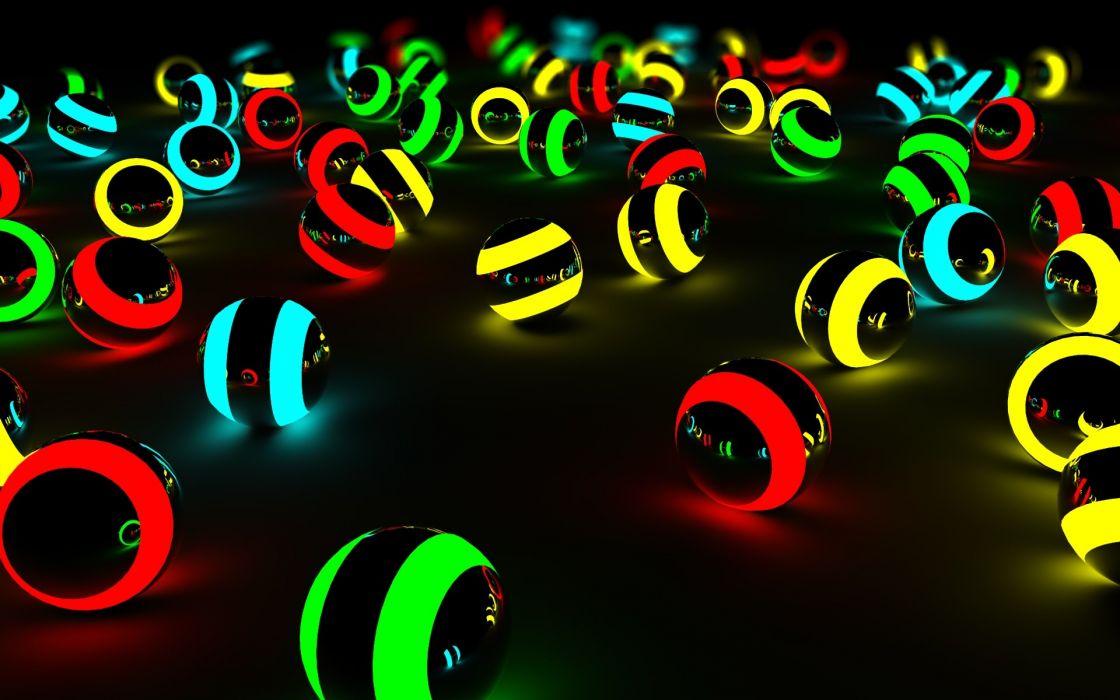Balls glow 3d wallpaper