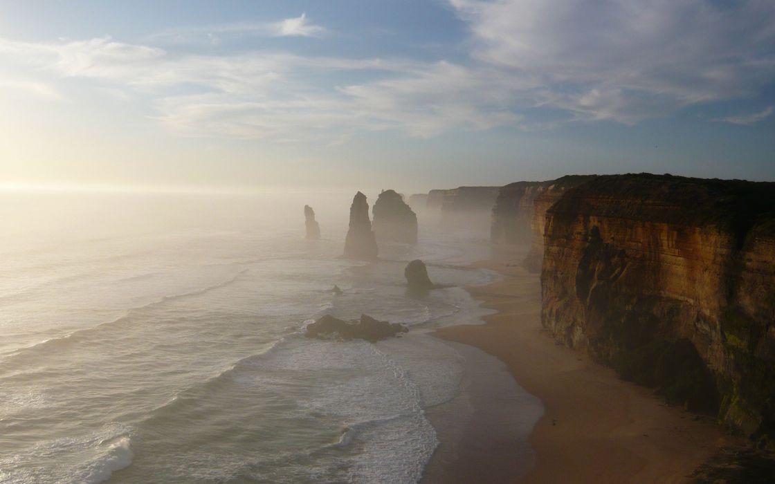 Ocean clouds landscapes nature sun skyline shore australia wallpaper