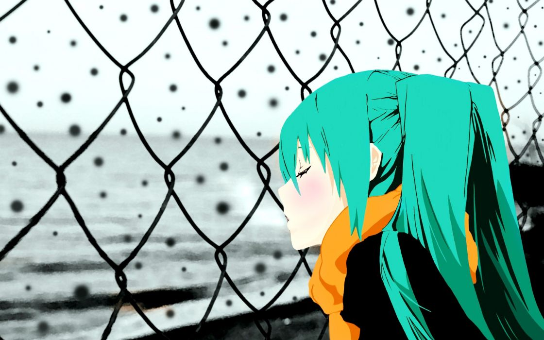 Vocaloid hatsune miku twintails closed eyes selective coloring scarf aqua hair wallpaper