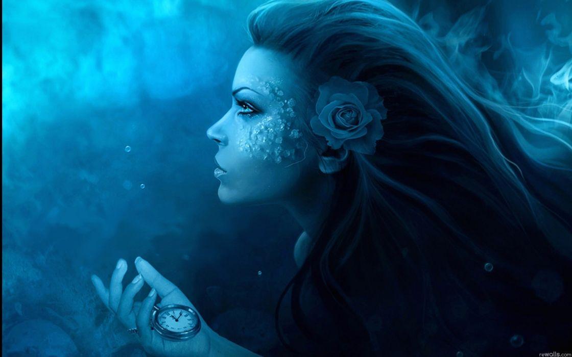 Women fantasy blue fiction flowers clocks artwork watches faces wallpaper