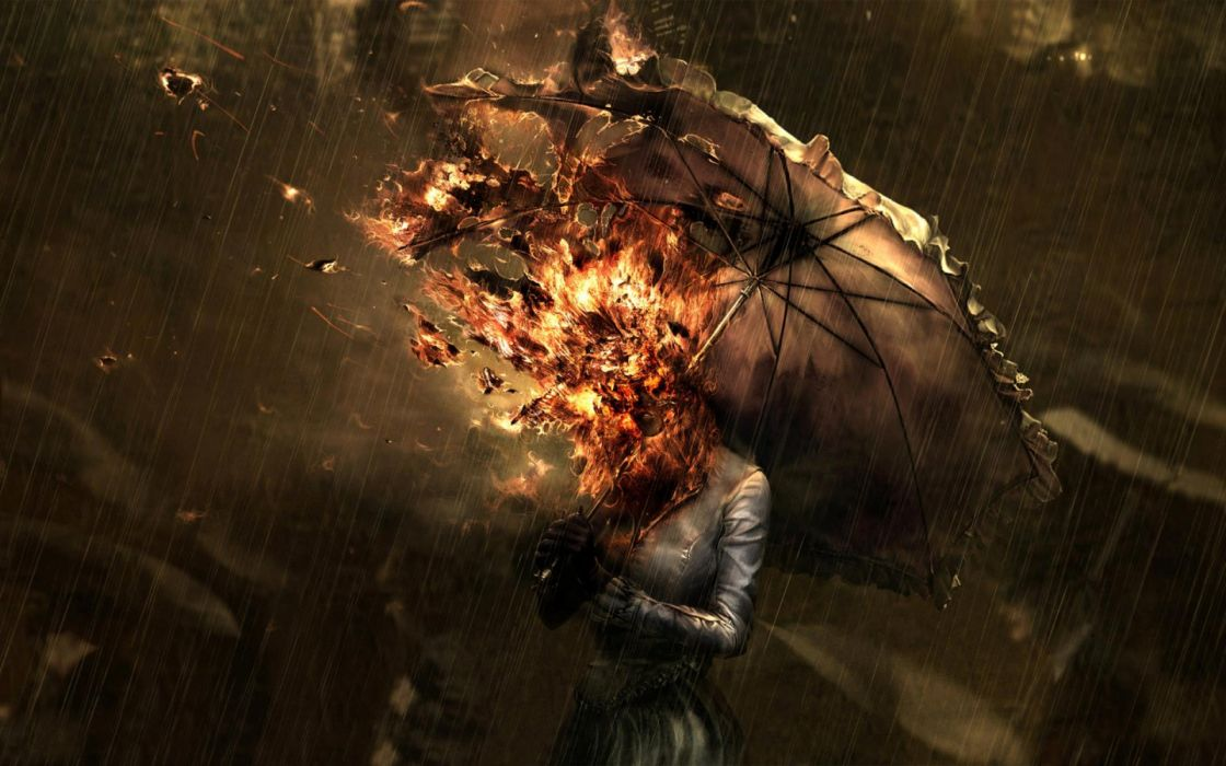 Women fire head umbrellas wallpaper