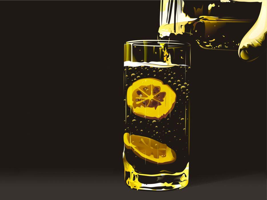 Glass hands bubbles artwork drinks lemonade simple background lemons wallpaper