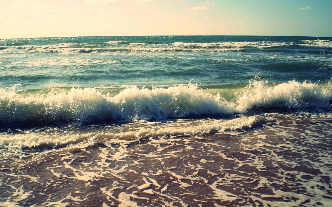 Nature beach sea waves shore wallpaper