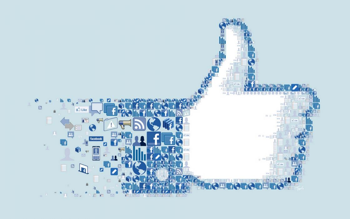 Facebook collage icons thumbs up logos montage social network wallpaper