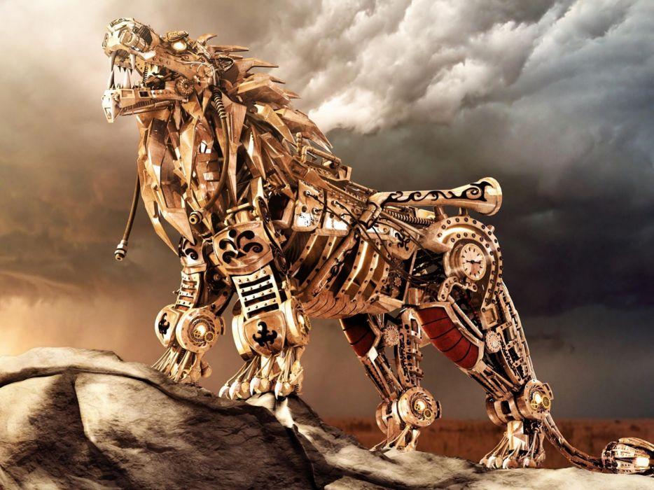 Iron lions 3d wallpaper