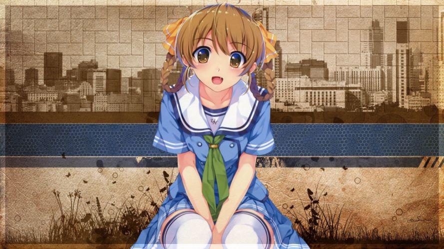 Brunettes video games school uniforms misaki kurehito anime girls suiheisen made nan mile chidori minamo wallpaper