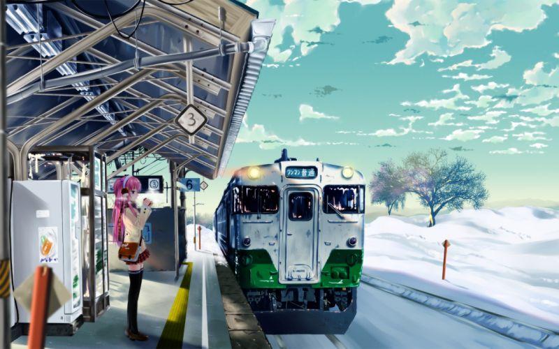 Snow trains train stations wallpaper