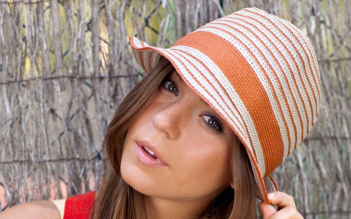 Brunettes women hats lily c faces wallpaper