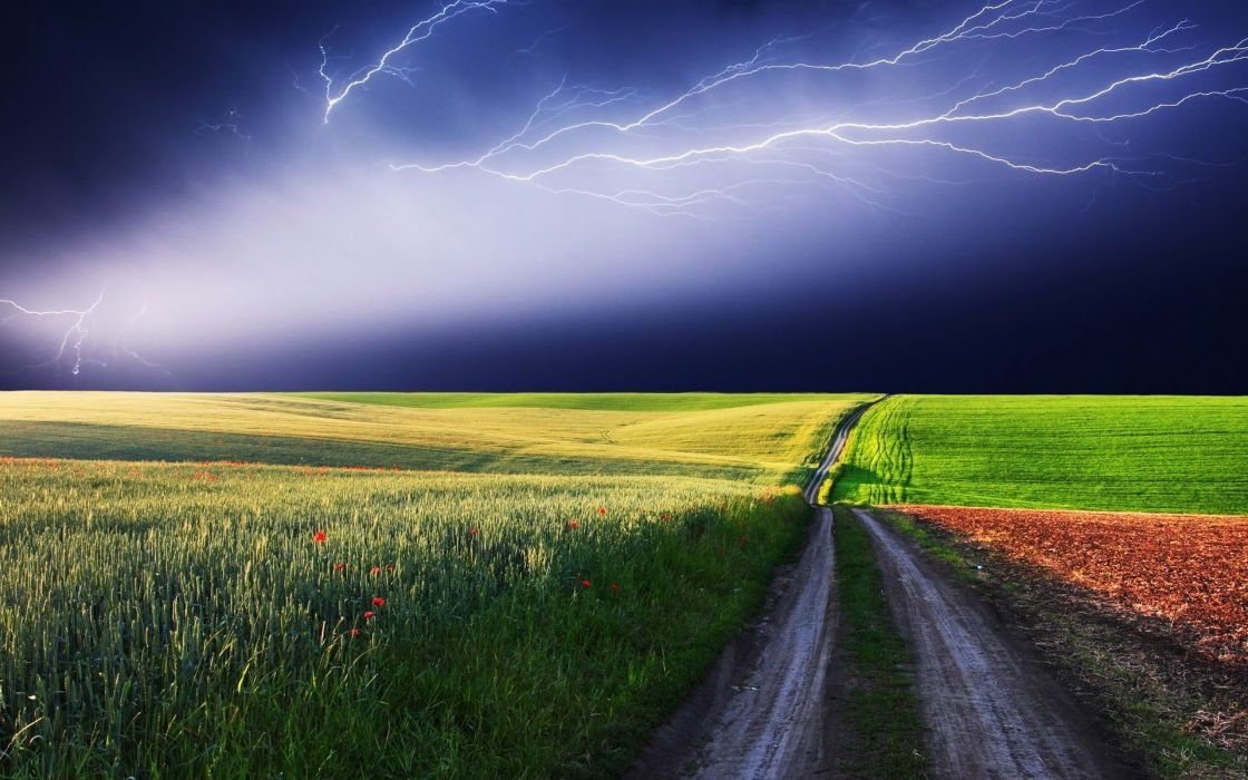 Clouds landscapes nature fields roads lightning red flowers wallpaper