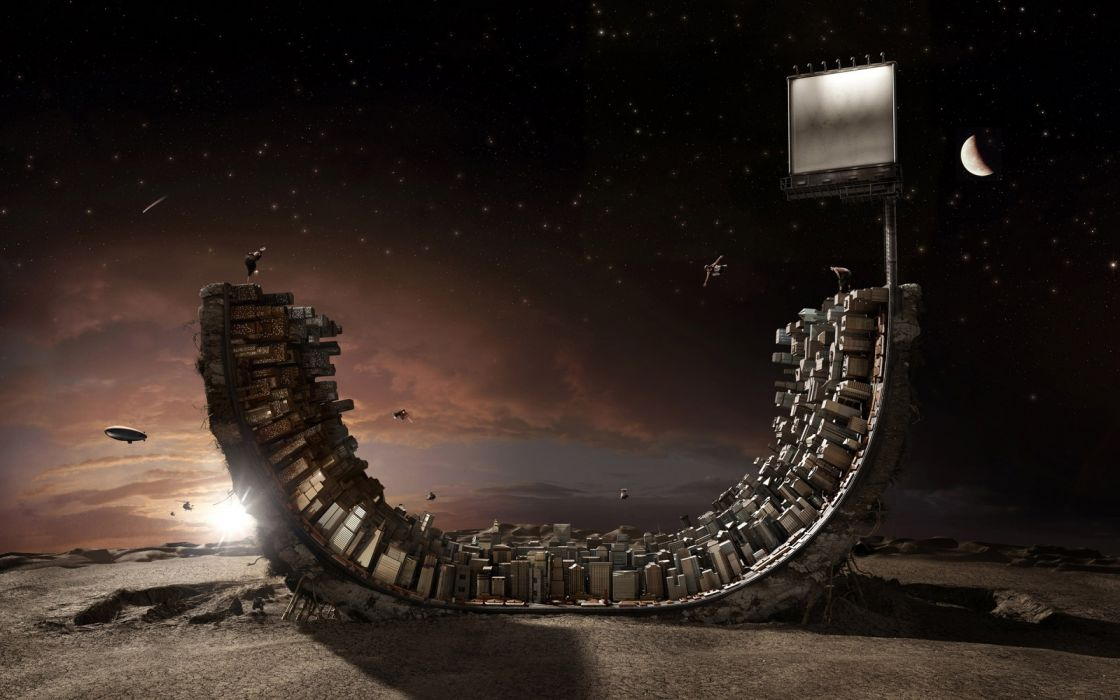 Outer space cityscapes helicopters stars inception moon buildings skateboarding skateboards vehicles photomanipulations half pipe wallpaper