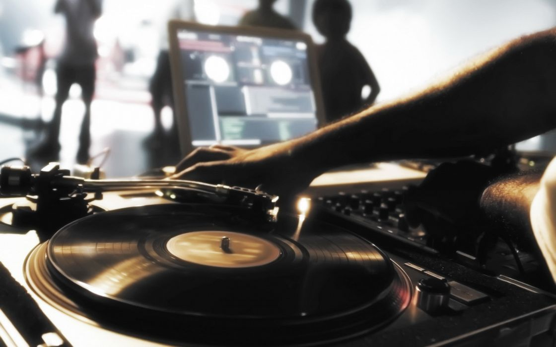 Music mixers djs disco record player wallpaper