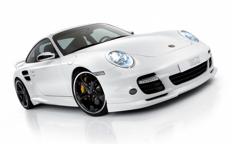 White porsche cars techart wallpaper