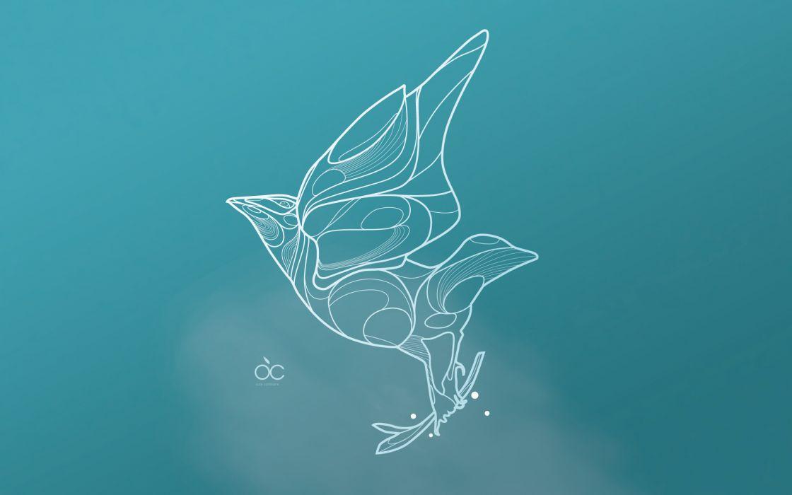 Abstract blue birds wallpaper