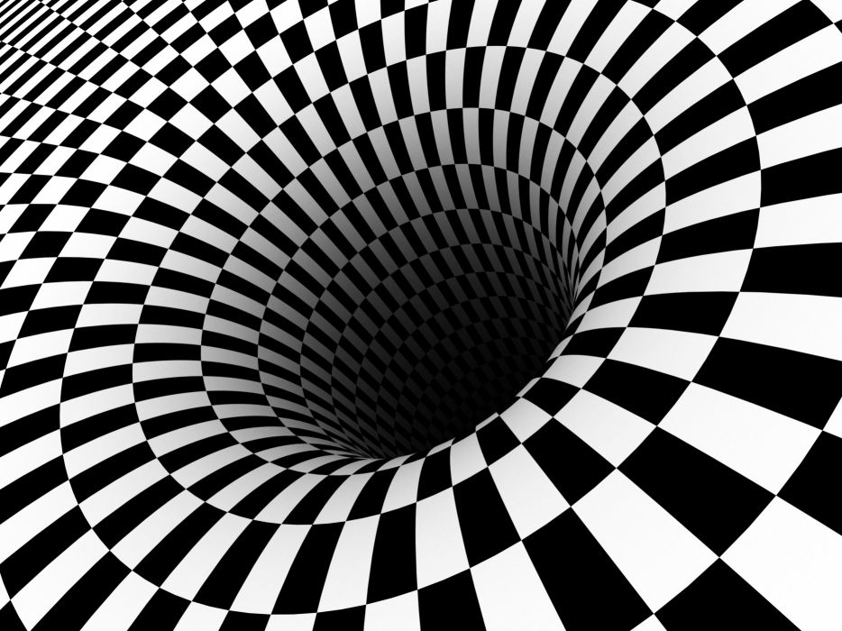 Black hole checkered vortex optical illusions wallpaper