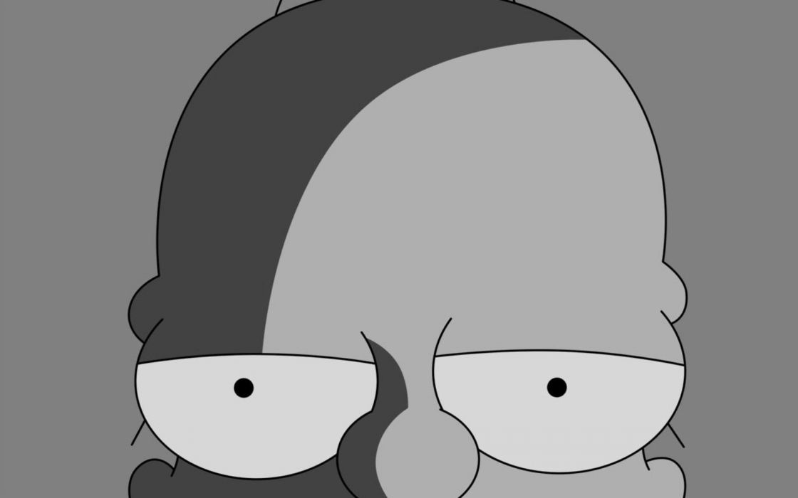 Homer simpson the simpsons monochrome greyscale wallpaper