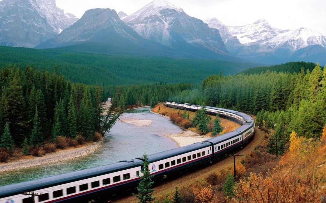 Mountains nature forest trains wallpaper