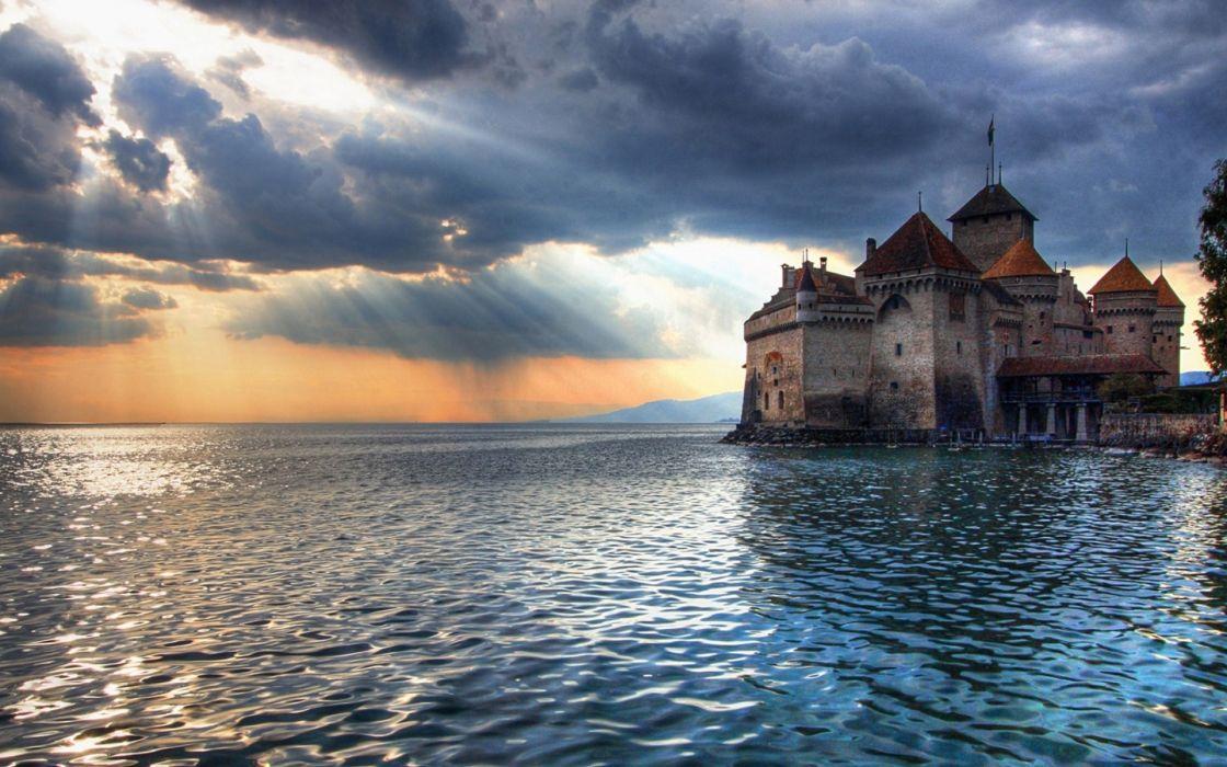Landscapes castles sea houses wallpaper