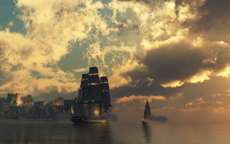 Fire ships pirates sail ship sails wallpaper