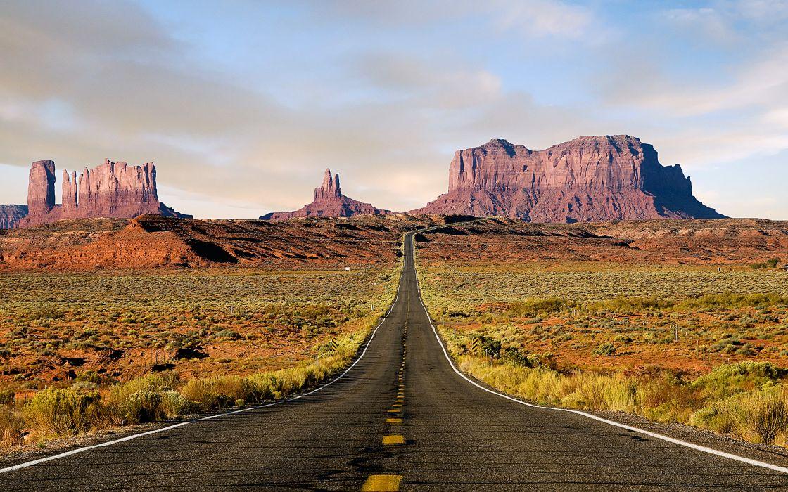 Mountains landscapes nature desert roads wallpaper