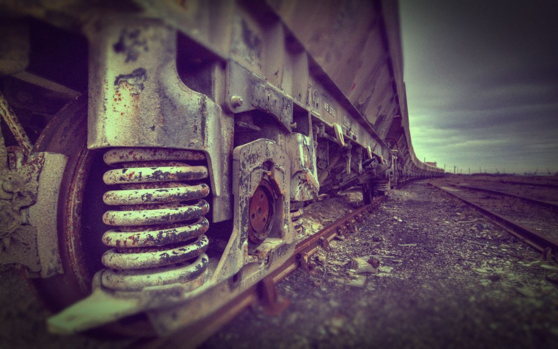 Trains railroad tracks vehicles lomo wallpaper