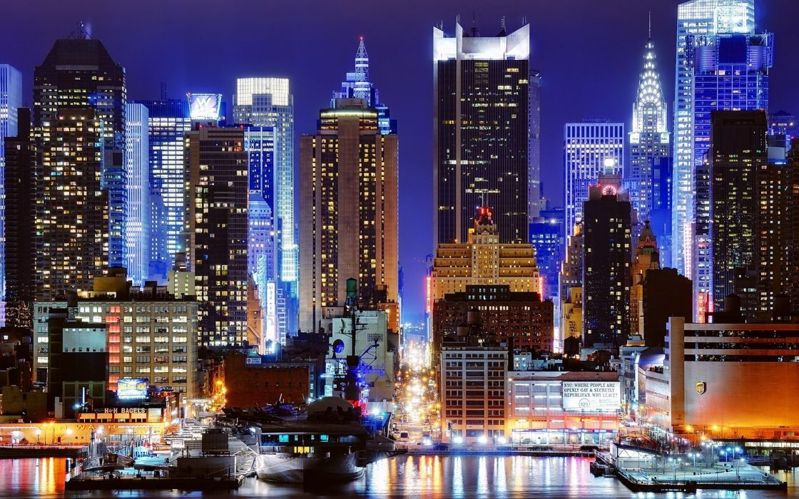 Cityscapes night new york city harbour city lights wallpaper