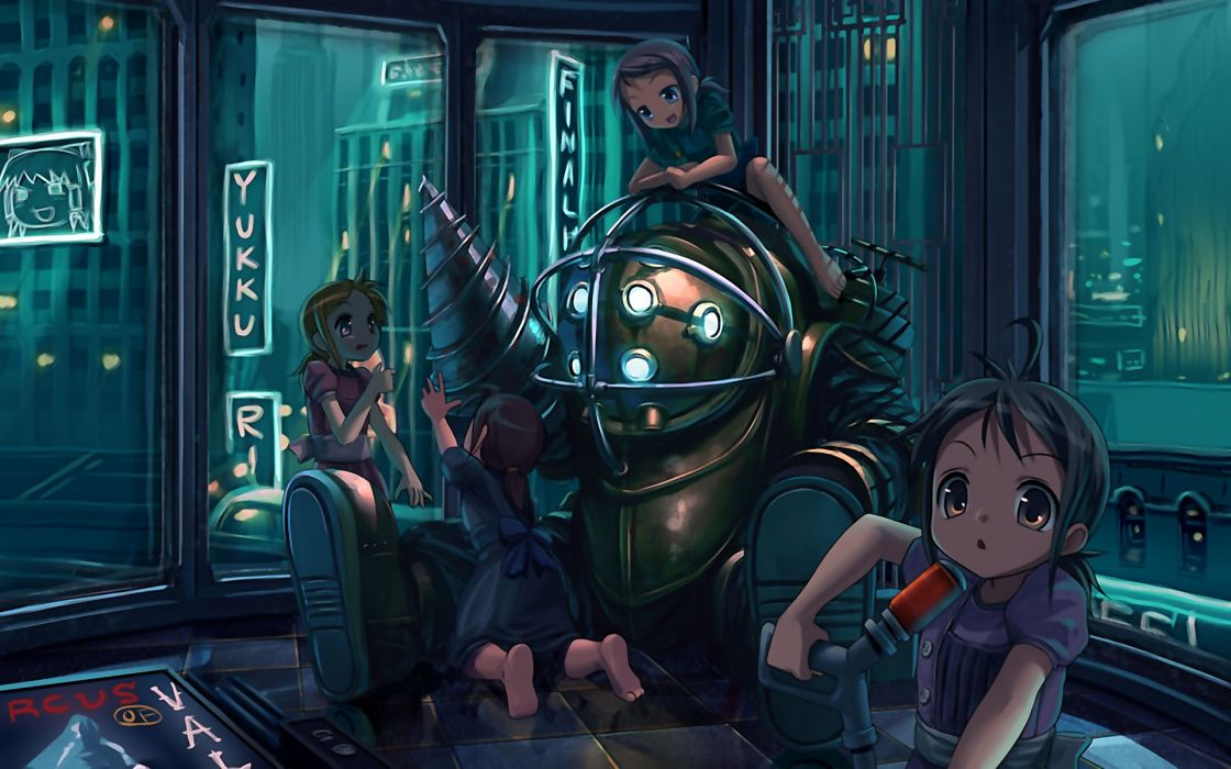 Big daddy bioshock nurses drill anime girls wallpaper