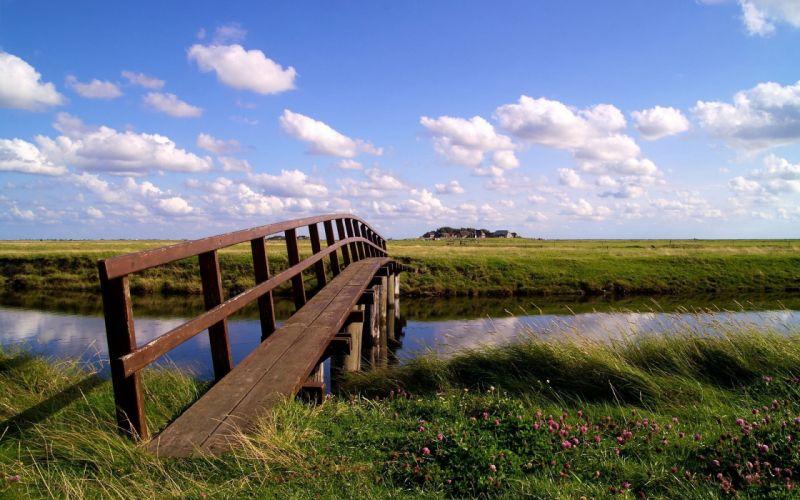Clouds landscapes nature bridges skyscapes wallpaper
