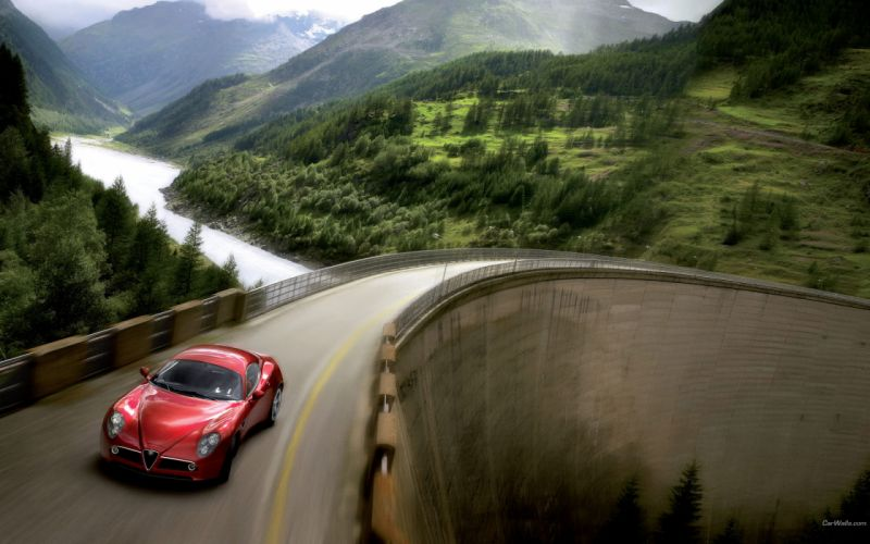 Mountains trees cars alfa romeo roads alfa romeo 8c competizione wallpaper