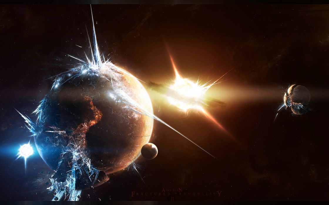 Outer space planets space station wallpaper