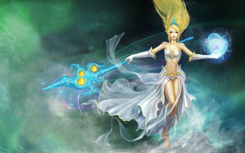 Blondes women video games league of legends fantasy art magic artwork janna staff long ears wallpaper
