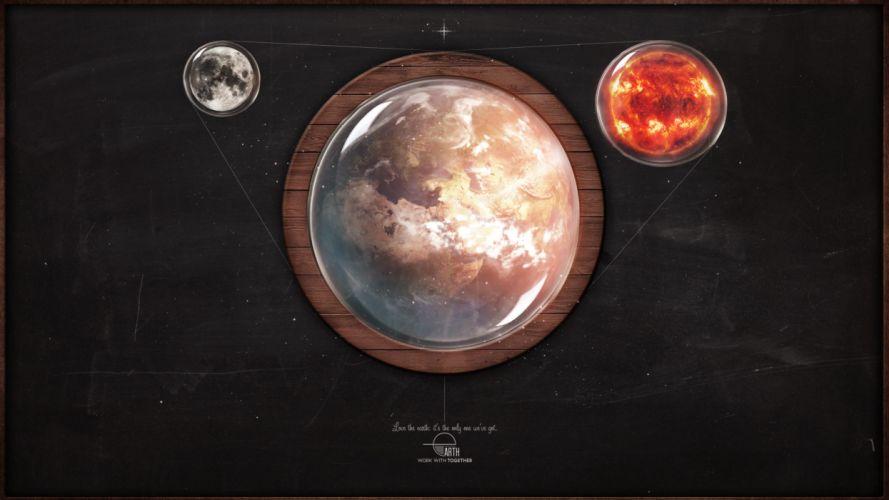 Family moon earth digital art objects 3d misc wallpaper