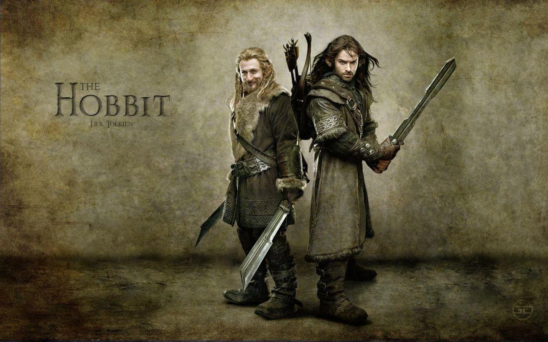 Movies dwarfs journey the hobbit arrows swordsman bow (weapon) brothers kili wallpaper