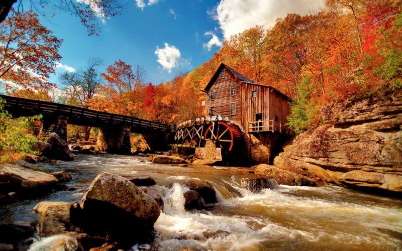 Landscapes trees autumn houses rivers wallpaper