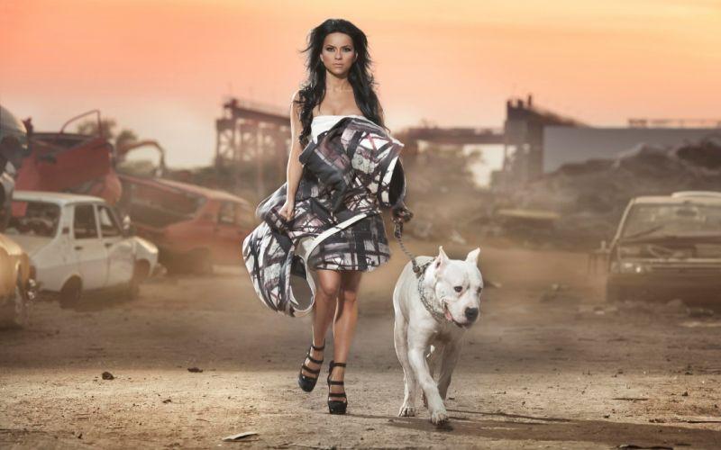 Women dress cars models dogs high heels inna leash wallpaper