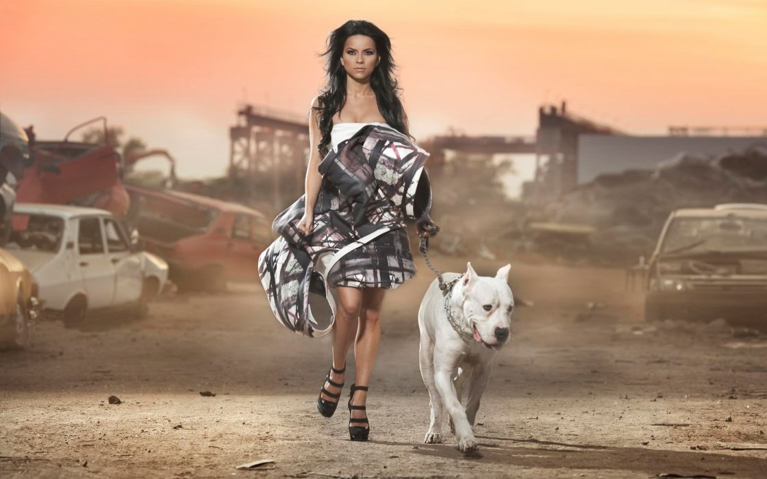 Women dress cars models dogs high heels inna leash wallpaper