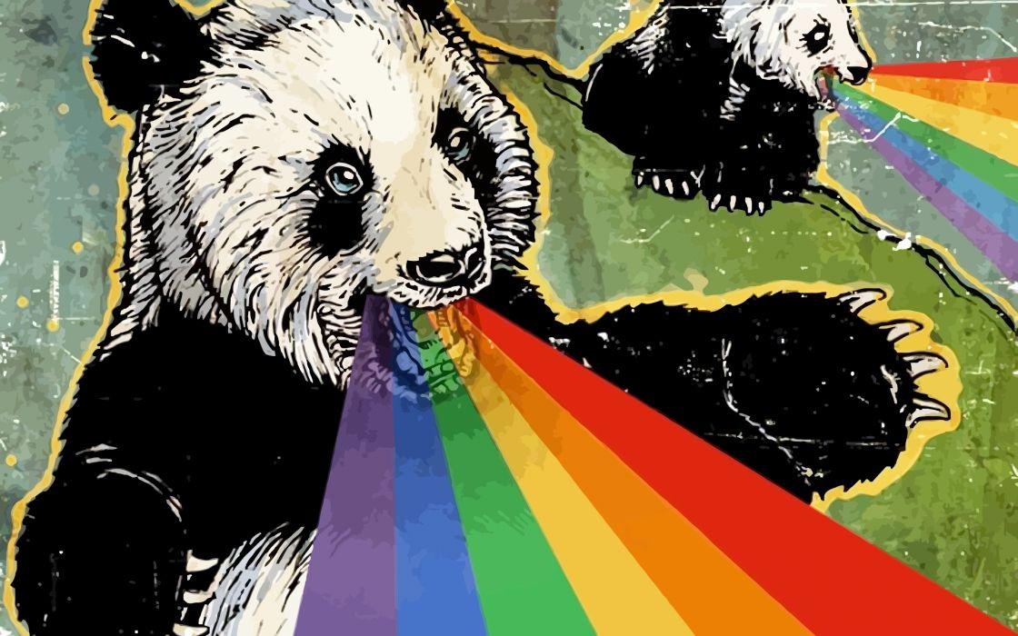 Abstract animals panda bears rainbows bears mammals wallpaper