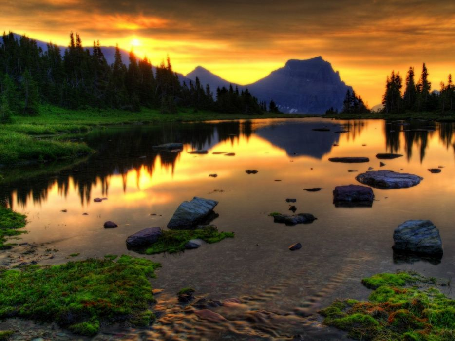 Sunset landscapes nature lakes reflections wallpaper