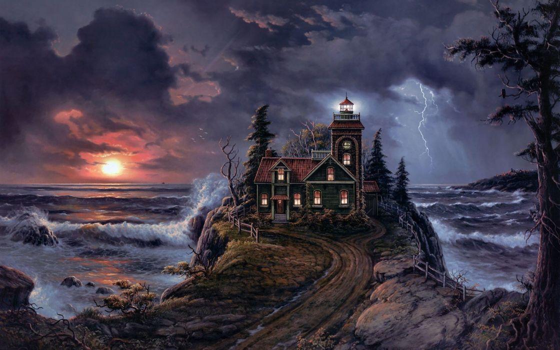 Sunset houses artwork lightning jesse barnes wallpaper