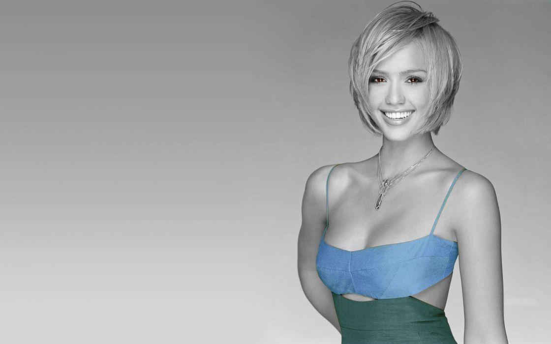 Women jessica alba actress models short hair selective coloring wallpaper