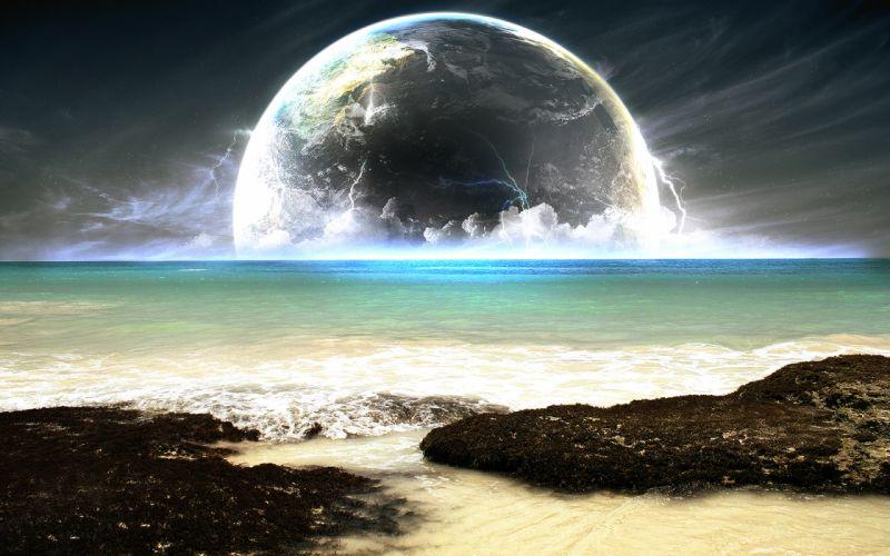 Water blue sea planets wallpaper