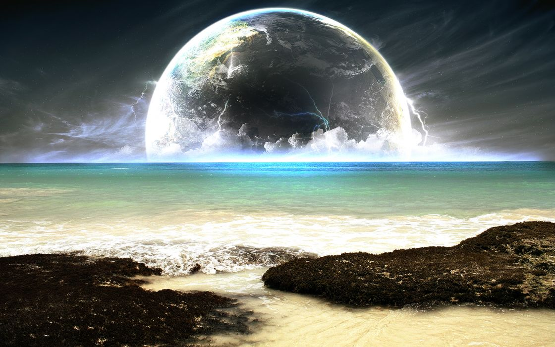 Water blue sea planets wallpaper