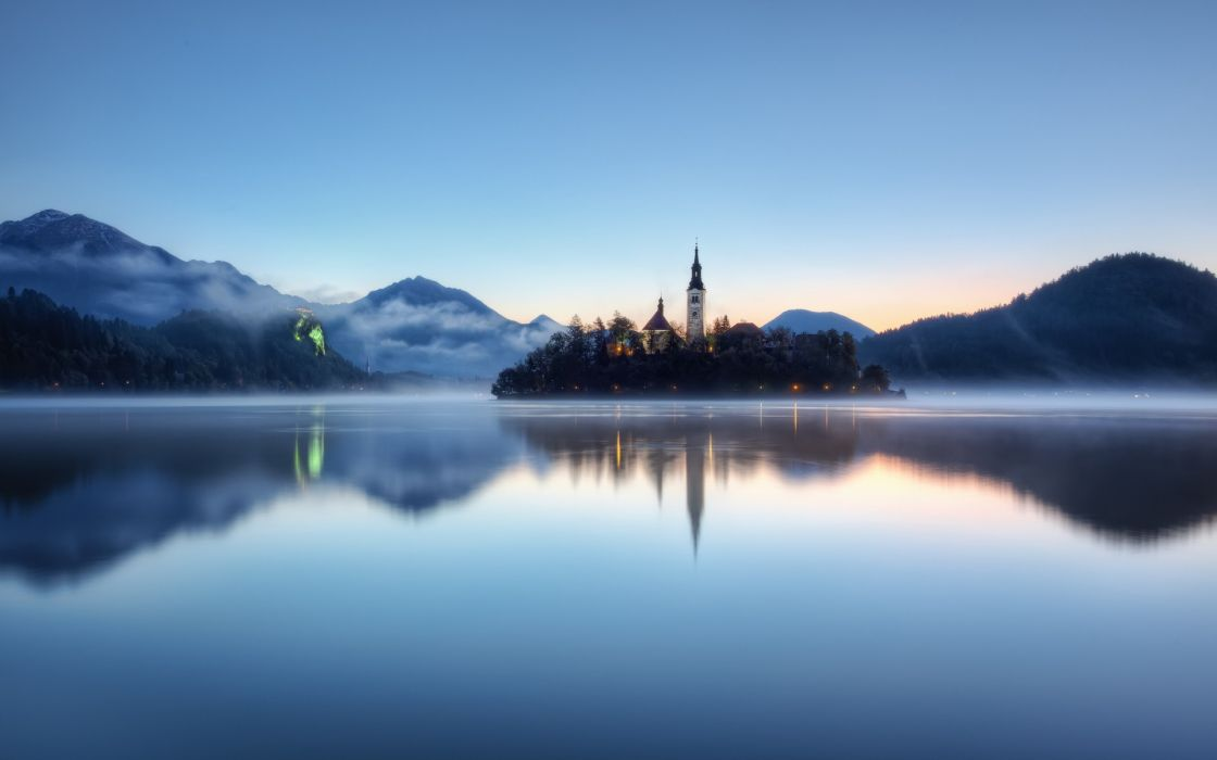 Water mountains nature trees forest hills fog church slovenia lakes wallpaper