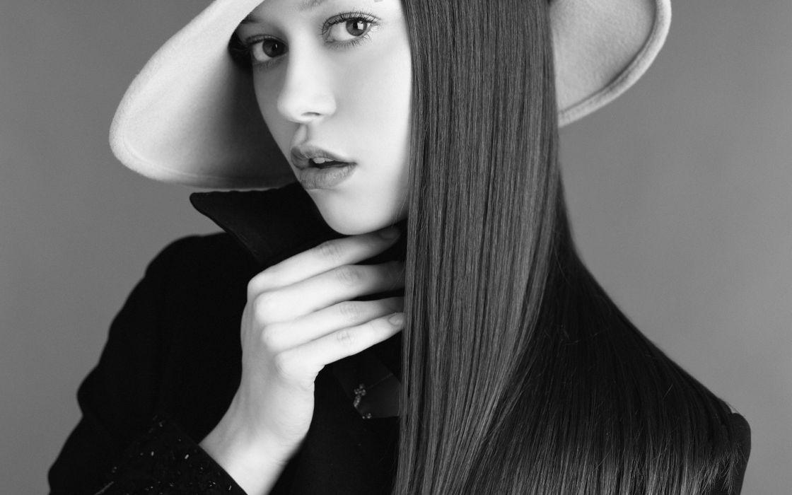 Women summer glau monochrome hats wallpaper