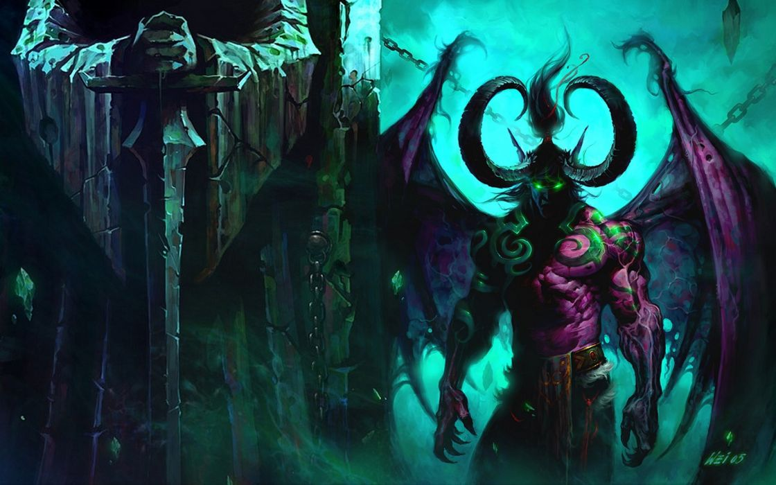Wings world of warcraft horns devil illidan stormrage blizzard entertainment artwork swords world of warcraft the burning crusade demon blizzard wallpaper