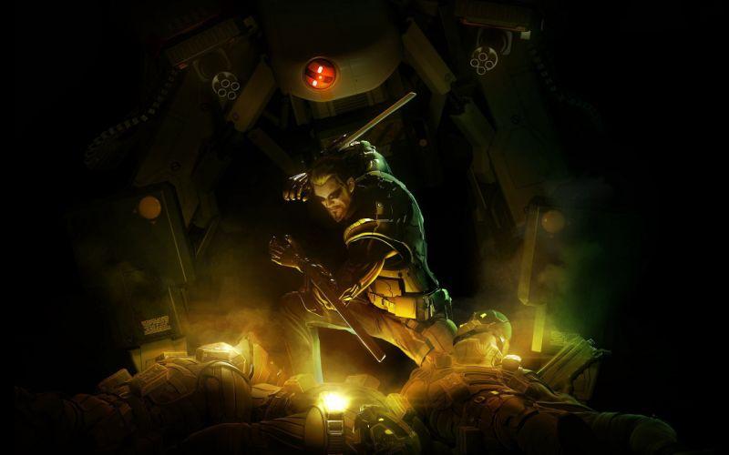 Soldiers video games futuristic deus ex human revolution wallpaper